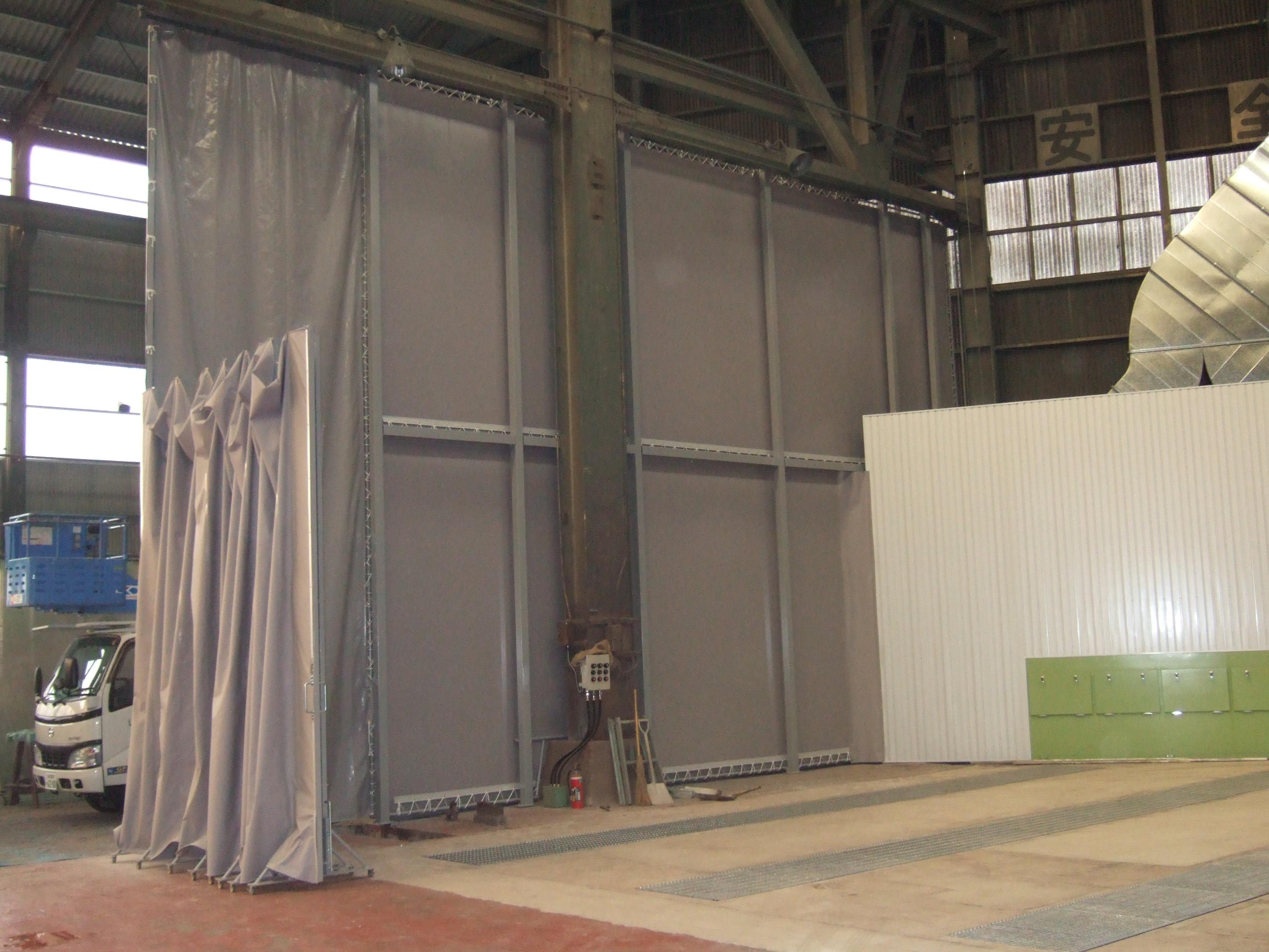 塗装場 自立式カーテン 左側開